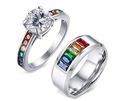 Amazon.com: NJ Gay - Anillo de boda para pareja, acero ...