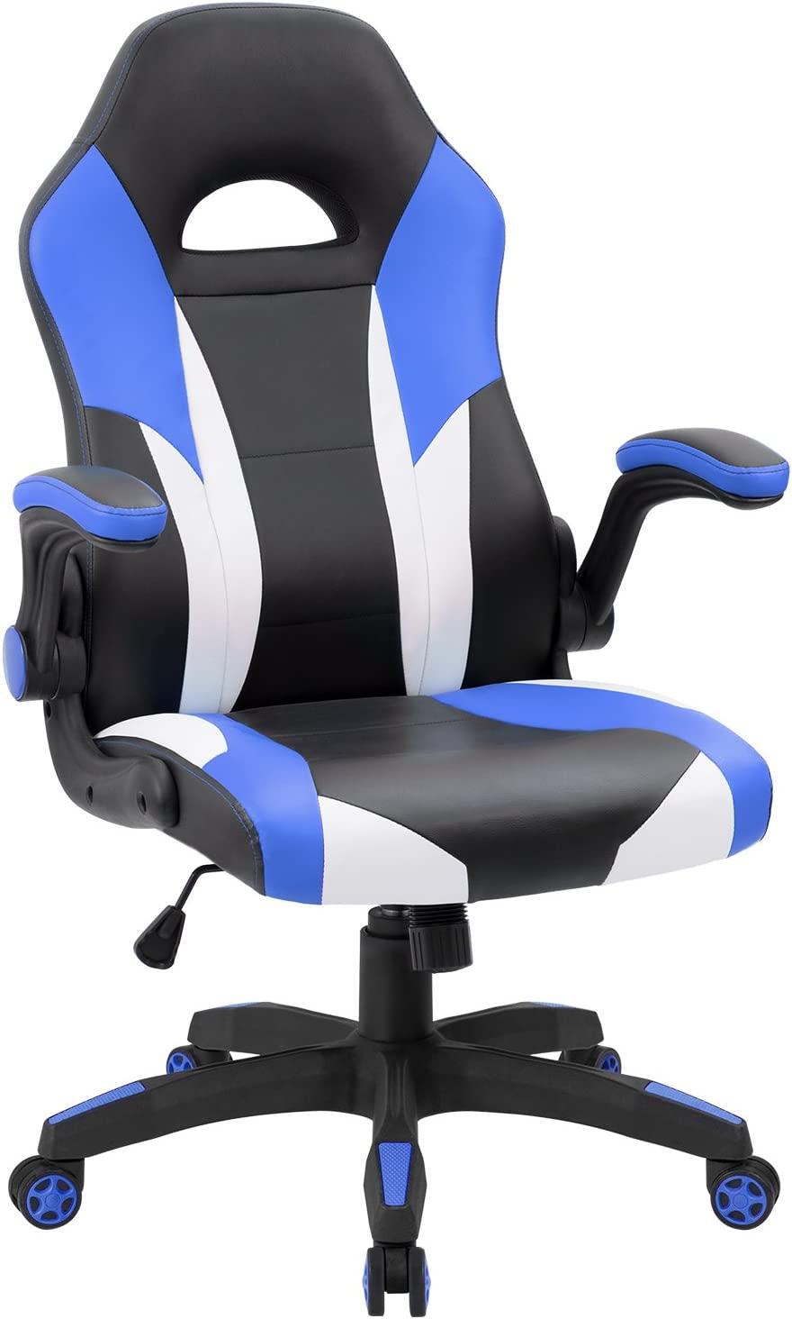 JUMMICO Gaming Chair Ergonomic Leather Racing Computer Chair High Back Adjustable Swivel Executive Office Desk Chair with Flip-Up Armrest Blue