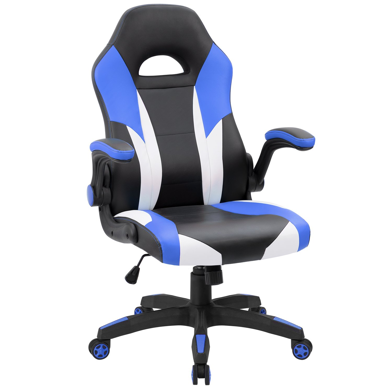 JUMMICO Gaming Chair Ergonomic Leather Racing Computer Chair High Back Adjustable Swivel Executive Office Desk Chair with Flip-Up Armrest (Blue) by JUMMICO