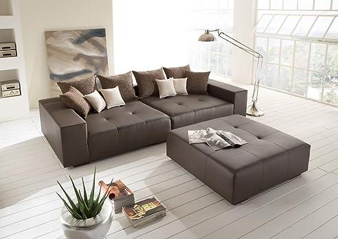 Big Leder Sofa mit Hocker– Made in Germany – Italienisches Leder ...