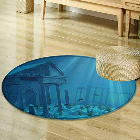 Amazon Mikihome Round Rugs For Bedroom Ocean Decor Sunlight Inspiration Atlantis Bedroom Furniture Decor
