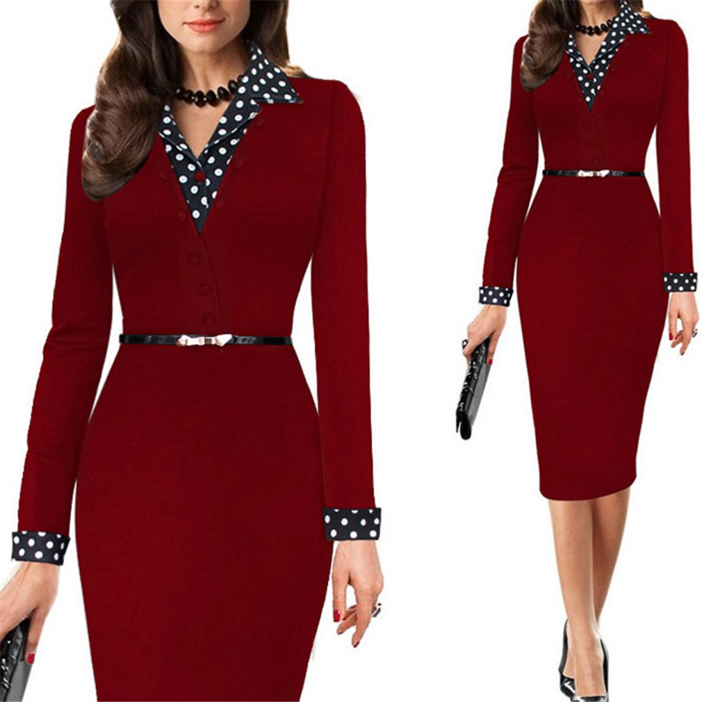SHOR-DRESS Office Business Dress Suit Retro Black Red Green Elegant Workwear Pencil Dress