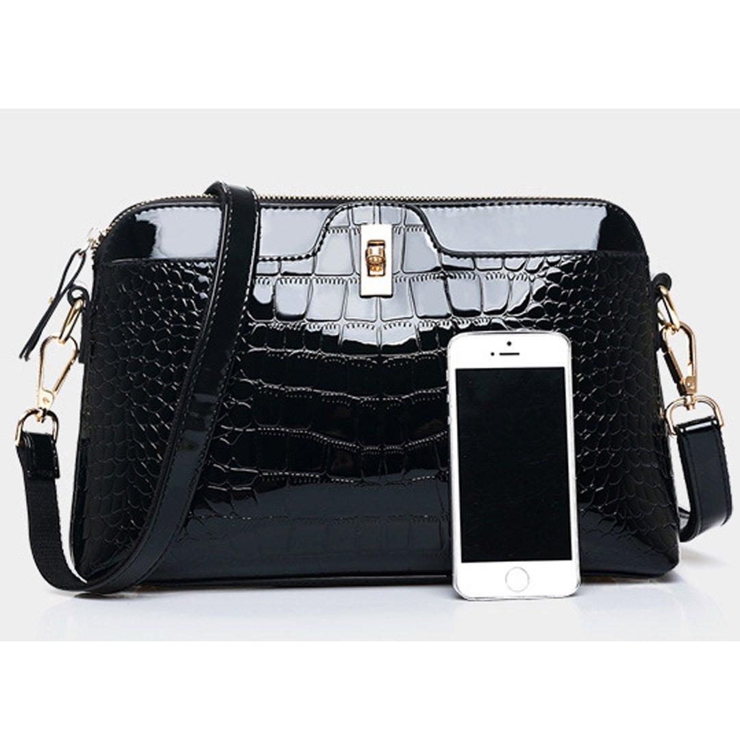 621d0be29607 Amazon.com: Amily Solid Color PU Patent Leather Alligator Handbag ...