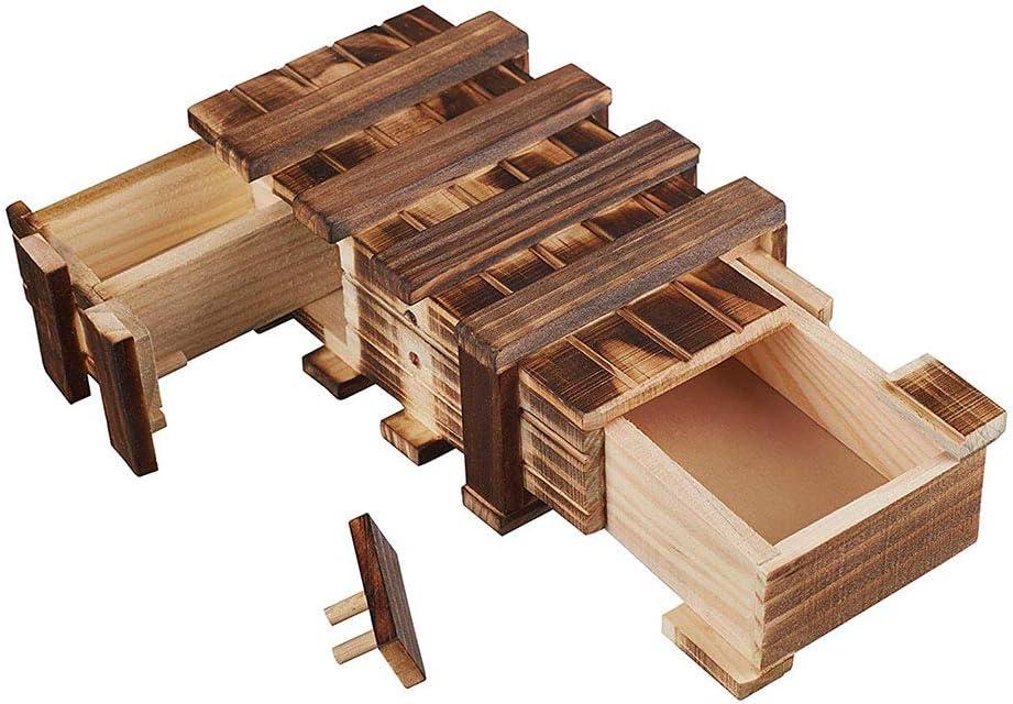 Amasawa Caja De Regalo De Madera, Caja Mágica, 2 Compartimentos, Regalo Creativo para Cupones, Joyas y Dinero.