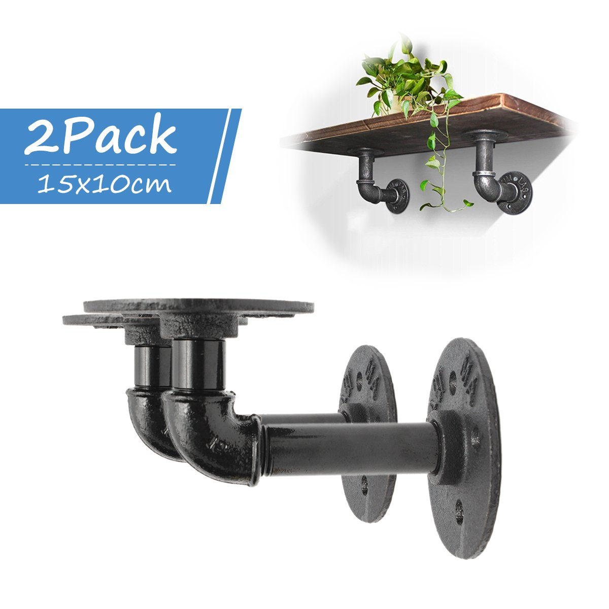 KINGSO 2Pcs Industrial Black Iron Pipe Bracket Wall Mounted Floating Shelf Hanging Wall Hardware Decor for Farmhouse Shelving Hardware Heavy Duty
