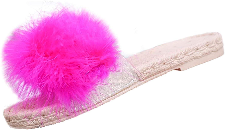 2019 Women Slippers Hairball Indoor Outdoor Flat Heel Sandals Slipper Beach Shoes Women Beach Slides Casual 9031620,Black,39,United States