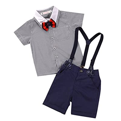 Amberetech Baby Boys Suspender Shorts Suit Denim Overalls Outfit Cotton Short Sleeve Dress Shirt Two-Piece Suits