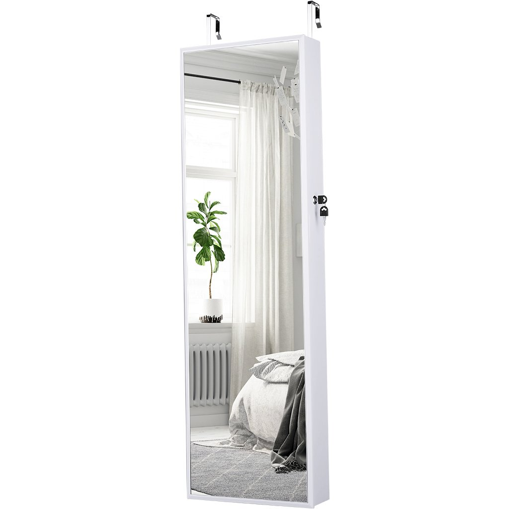 LANGRIA Mirrored Jewelry Armoire With 10 Automatic LED Lights And Full Length  Mirror Wall Door Mounted ...