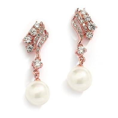 Mariell Vintage Hochzeit Cz Glas Pearl Drop Clip Auf Ohrringe Fur