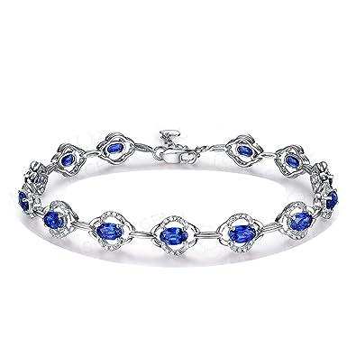 tout neuf a68bb 7d124 Bracelet Femme Fine Saphir*0.32ct Bleu Diamant, Or Blanc 18 ...