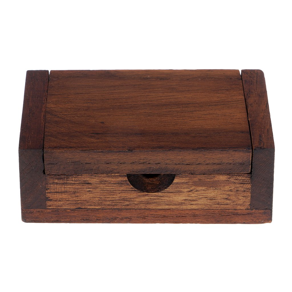 01 Homyl Vintage Handmade Teak Wood Toothpick Box Holder Small Wood Box for Small Jewelry Necklace Earring Storage Brown