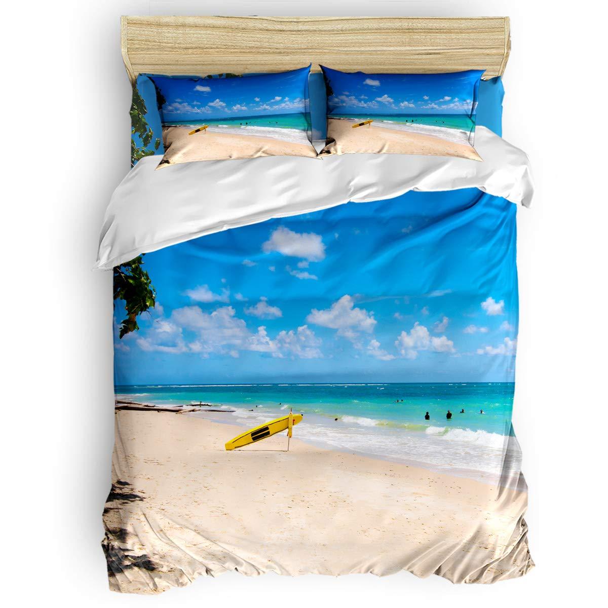 掛け布団カバー 4点セット 大小 波点 丸 背景光 寝具カバーセット ベッド用 べッドシーツ 枕カバー 洋式 和式兼用 布団カバー 肌に優しい 羽毛布団セット 100%ポリエステル キング B07TGD28T1 Beach47LAS6244 キング