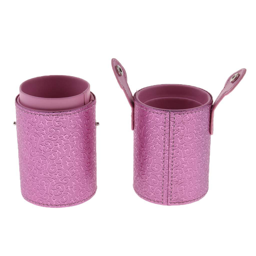 Maquillaje Portaescobillas Tubo de Almacenaje de Cepillo Cosm/ético Caja de Cilindro de Color Rosa