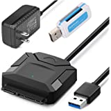 """OWNUZZ USB 3.0 to SATA Adapter Hard Drive Converter Cable for 2.5"""" 3.5"""" SATA HDD SSD with 12V 2A Power Adapter"""