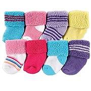 Luvable Friends Unisex 8 Pack Newborn Socks, Pink Stripe, 0-6 Months