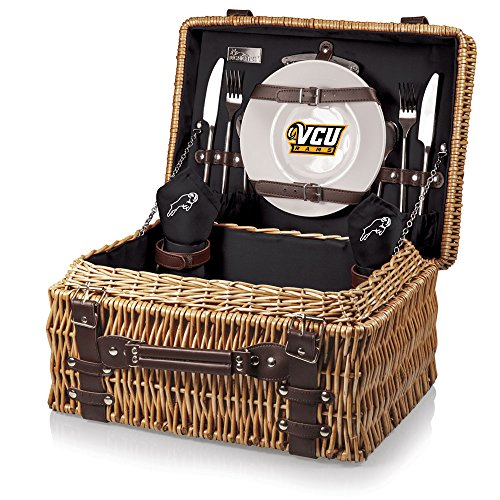 NCAA Virginia Commonwealth Rams Champion Picnic Basket with Deluxe Service for Two, Black