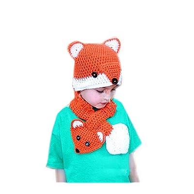 3a6d915c54178 ALLDECOR 2PCS Cartoon Fox Hat Scarf Handmade Knit Children Beanie Caps