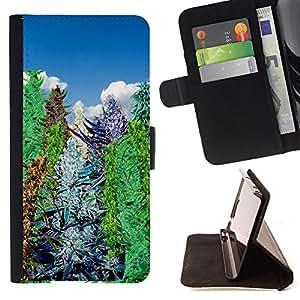 King Art - Premium-PU-Leder-Prima caja de la PU billetera de cuero con ranuras para tarjetas, efectivo Compartimiento desmontable y correa para la mu?eca FOR Samsung Galaxy S4 IV I9500 i9508 i959- Tree