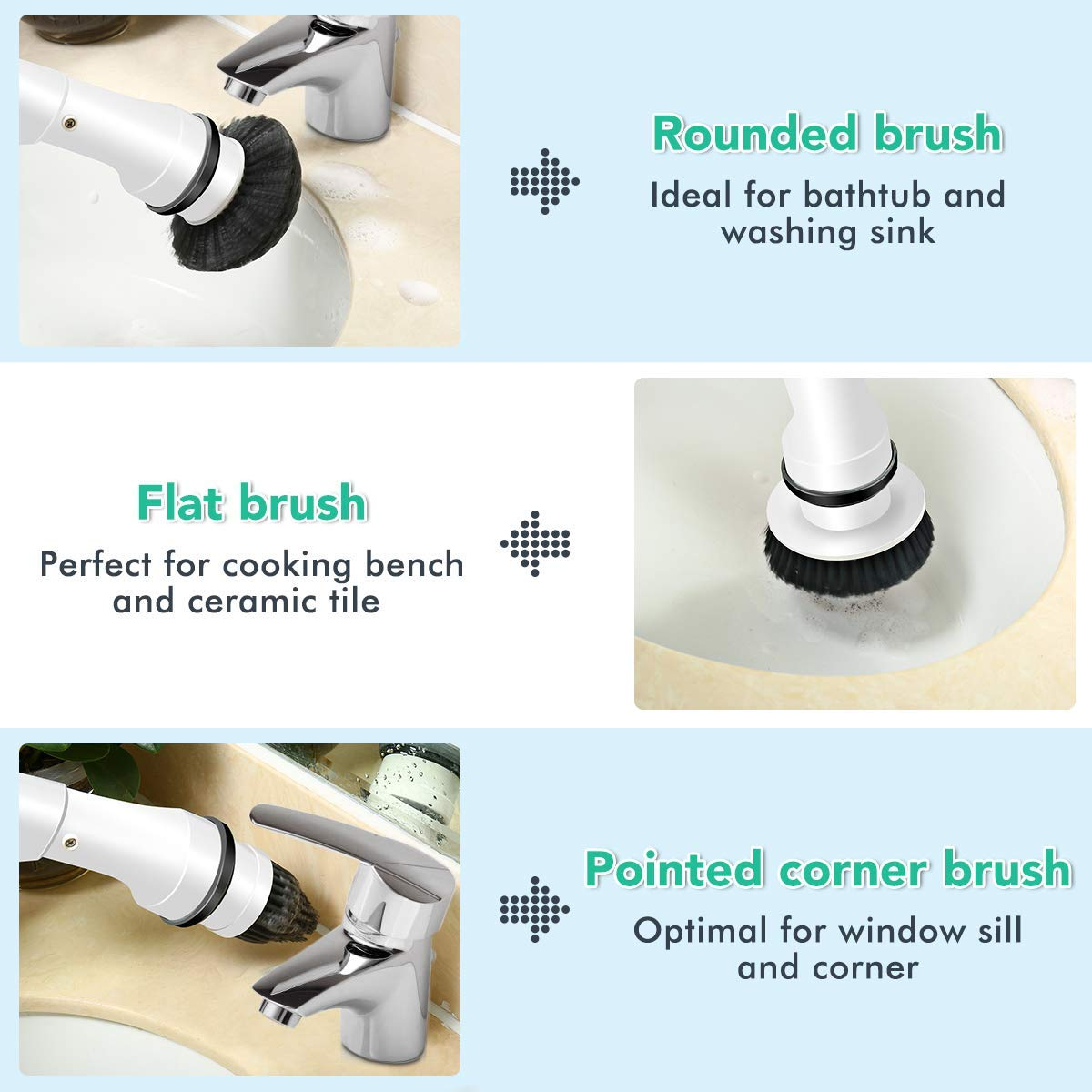 MECO Electric Spin Scrubber Power Cordless Tub and Tile Scrubber, 360 Handheld Cleaning supplies with 3 Replaceable Brush Heads, High Rotation for Bathroom, Floor, Kitchen, Car, Sink, Wall, Window by MECO (Image #4)
