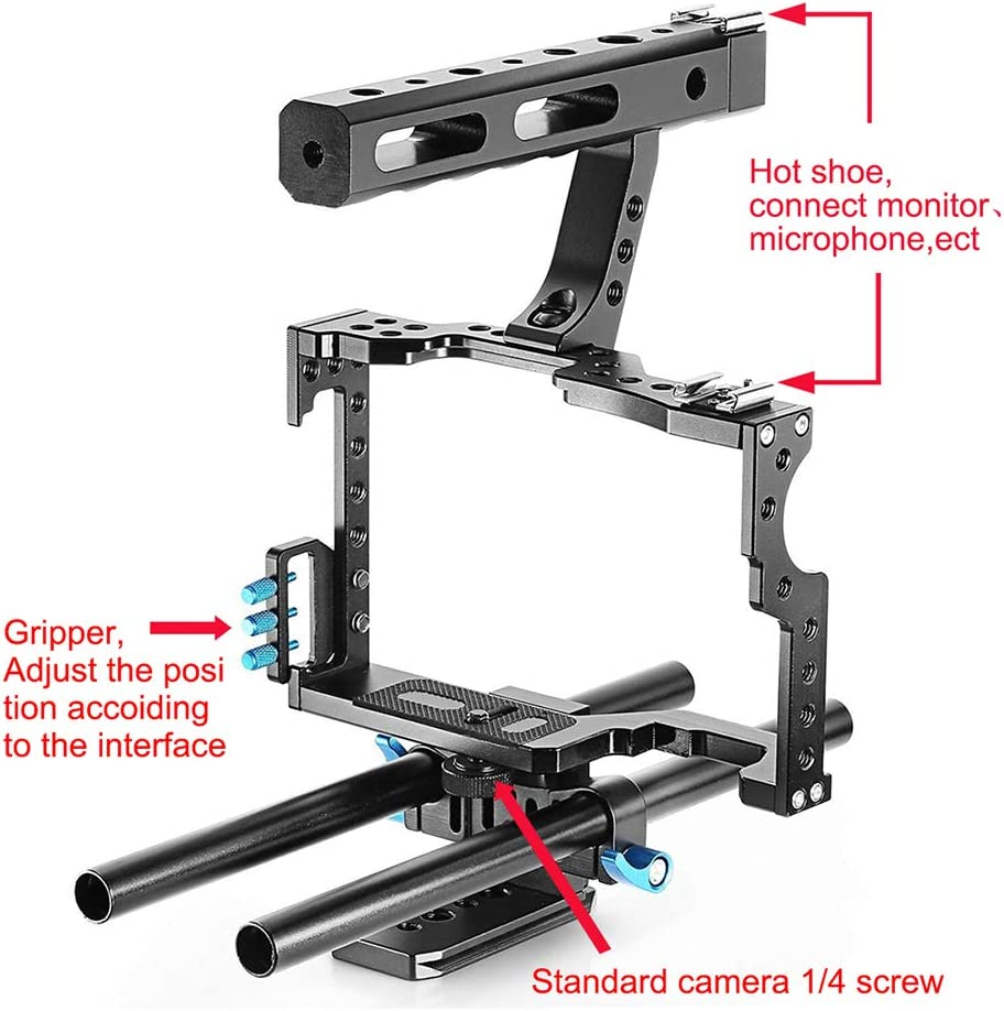 Aluminum Alloy Video Camera Stabilizer DSLR Camera Photographic Kit AXELEL Camera Video Cage with Focal Device Video Stabilizing Handle Grip
