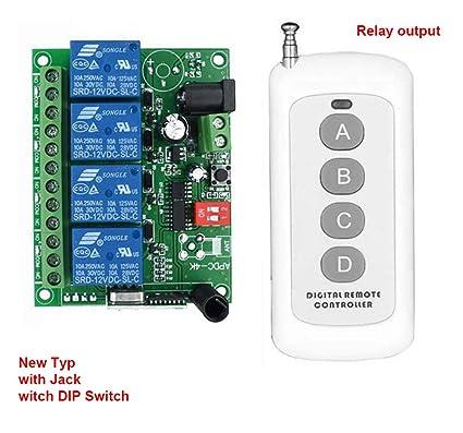 Amazon.com: NEW 4-Channel DC 12V 24V 433MHz 200M Range ...