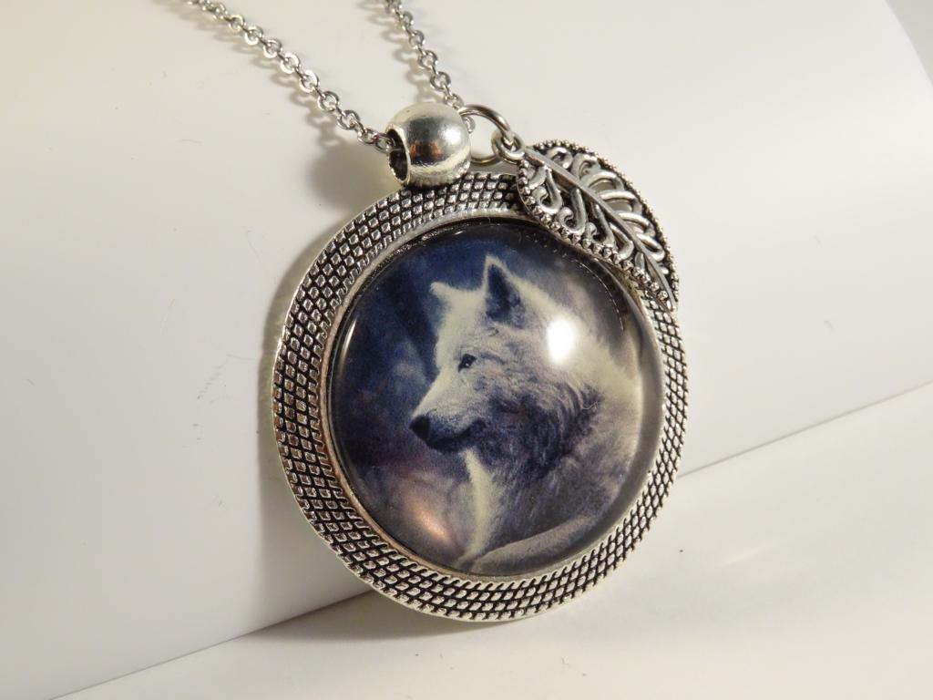 Glasmotivkette Wolf 80 cm