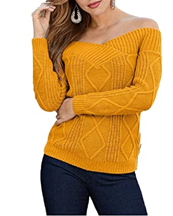 6b058b62800c9c Womens Off The Shoulder Sweaters Sexy Long Sleeve Cable Knit Plain Pullover  Jumper Top