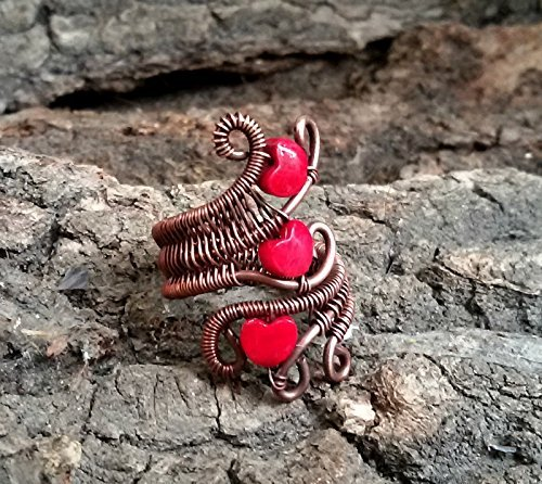 - WIRE copper ring 3 red porcelain hearts, Wire wrapped jewelry handmade, unique gift for women