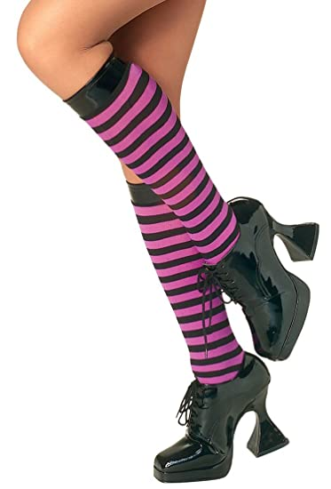 47467c525 Amazon.com  Std Size Women Purple and Black Striped Knee High Stockings -  Striped Knee Socks  Clothing