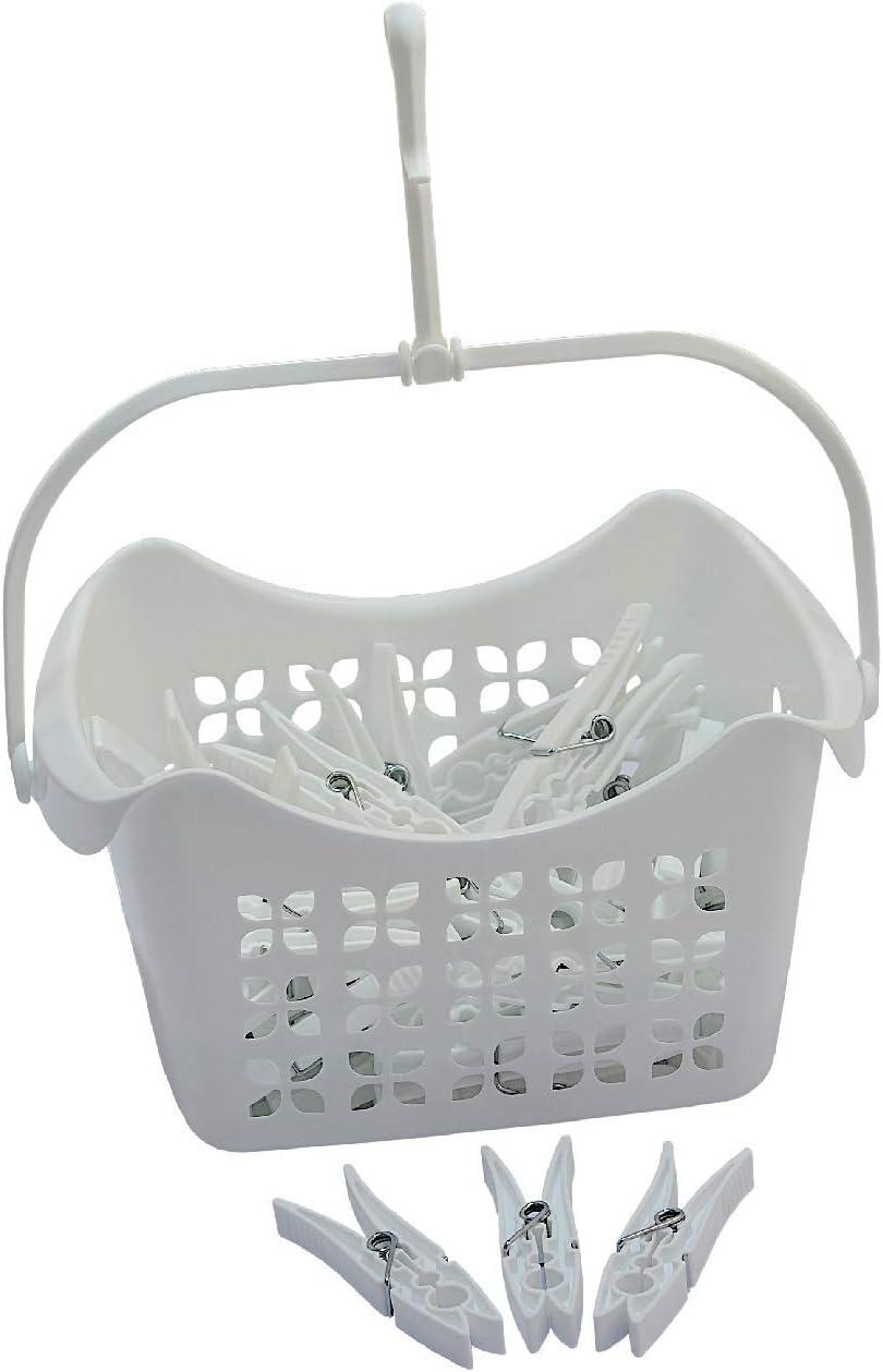 color blanco Cesta para colgar pinzas de la ropa con 40 pinzas de pl/ástico PP
