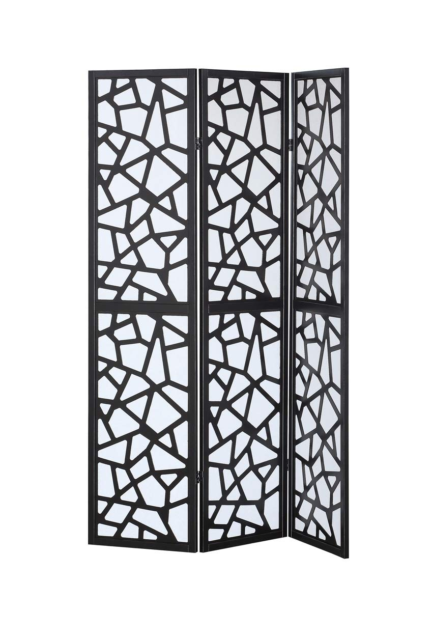 Giantex 3 Panel Folding Privacy Screen Room Divider Shoji Screen with Cracks PatternLiving Room Bedroom Furniture HW58837