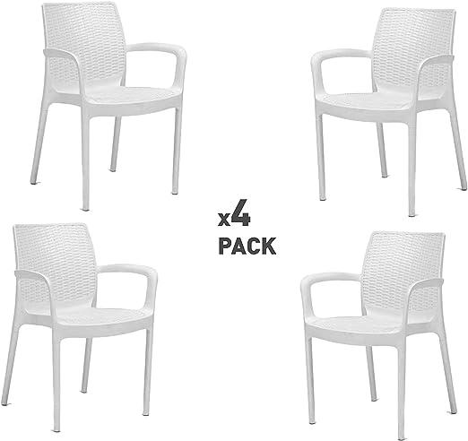 Keter Bali Set de 4 sillas de jardín, Blanco: Amazon.es: Jardín