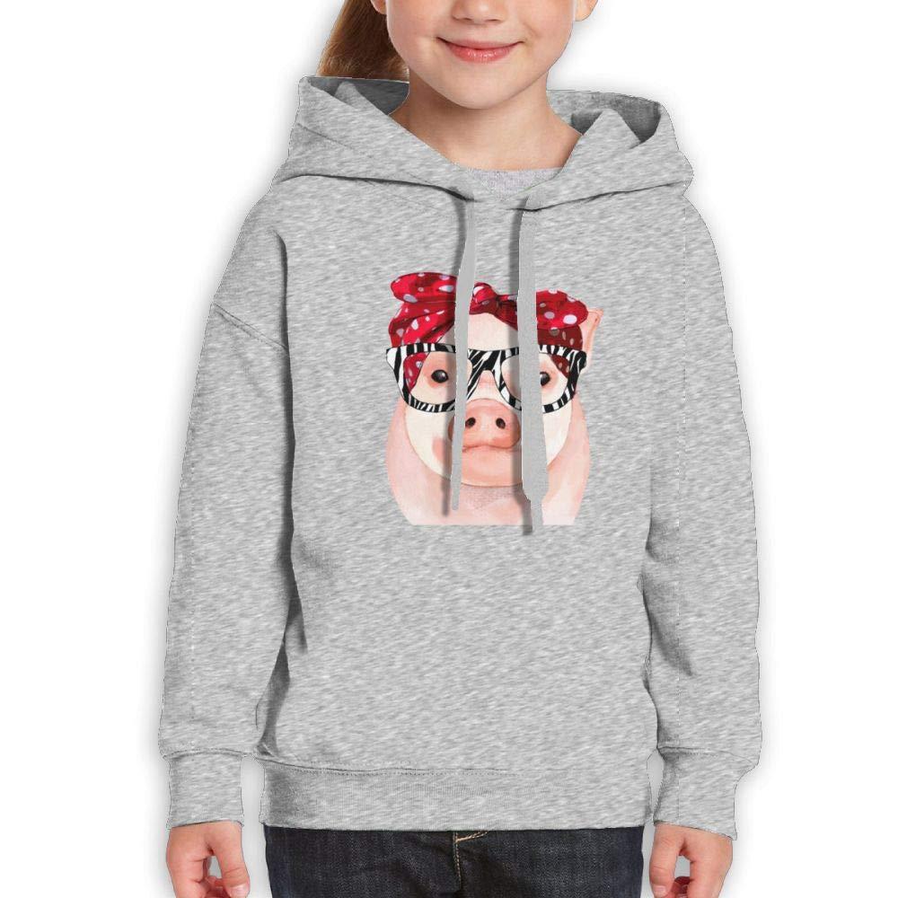 Hanfjj Kefdk Cute Youth Hoody Long Sleeve Sweatshirts Girl's Trendy Glasses Pig by Hanfjj Kefdk