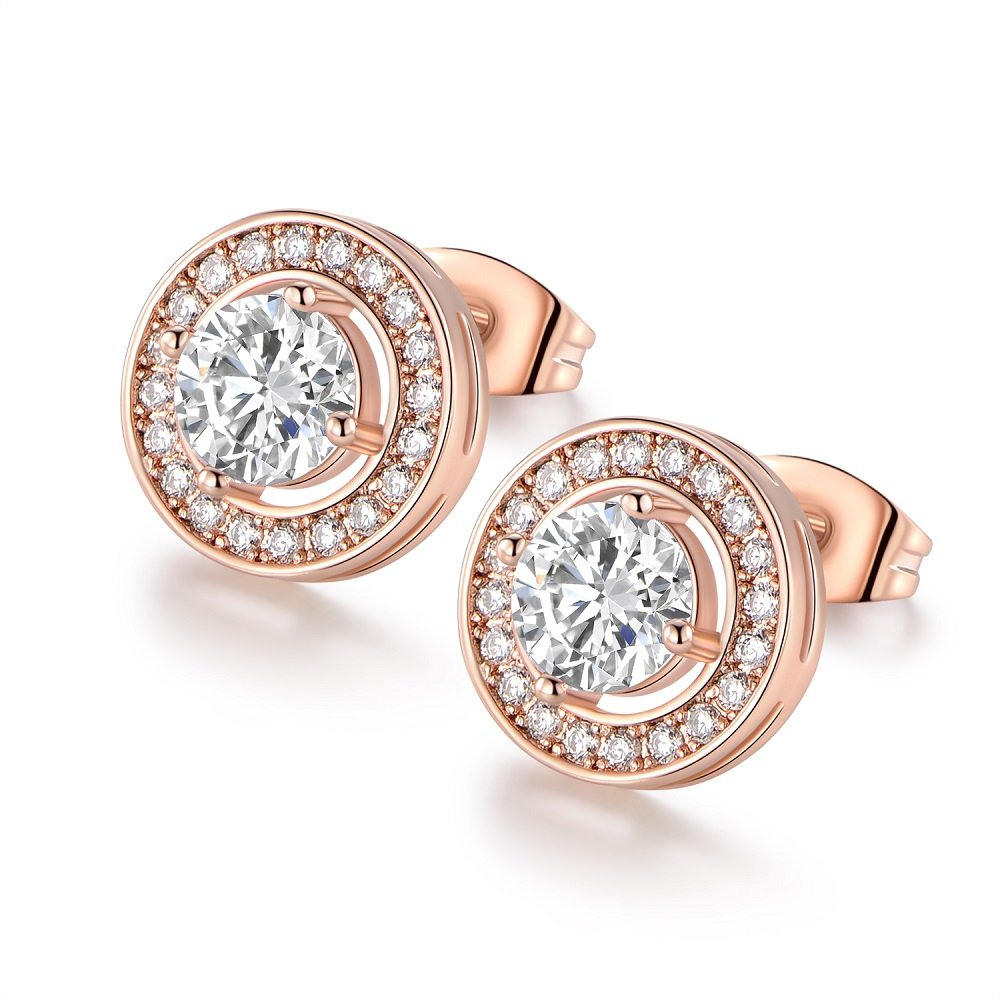 18K White Gold Plated Cubic Zirconia Halo Stud Earrings For Women VOLUKA B07F2D9WVS_US