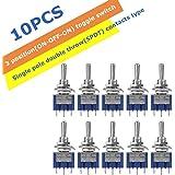 10PCS Mini interruptor de palanca 3 pines 6mm Interruptor basculante resistente al agua de servicio pesado 120V 6A Interruptor basculante SPDT moment/áneo de encendido//apagado de 3 posiciones
