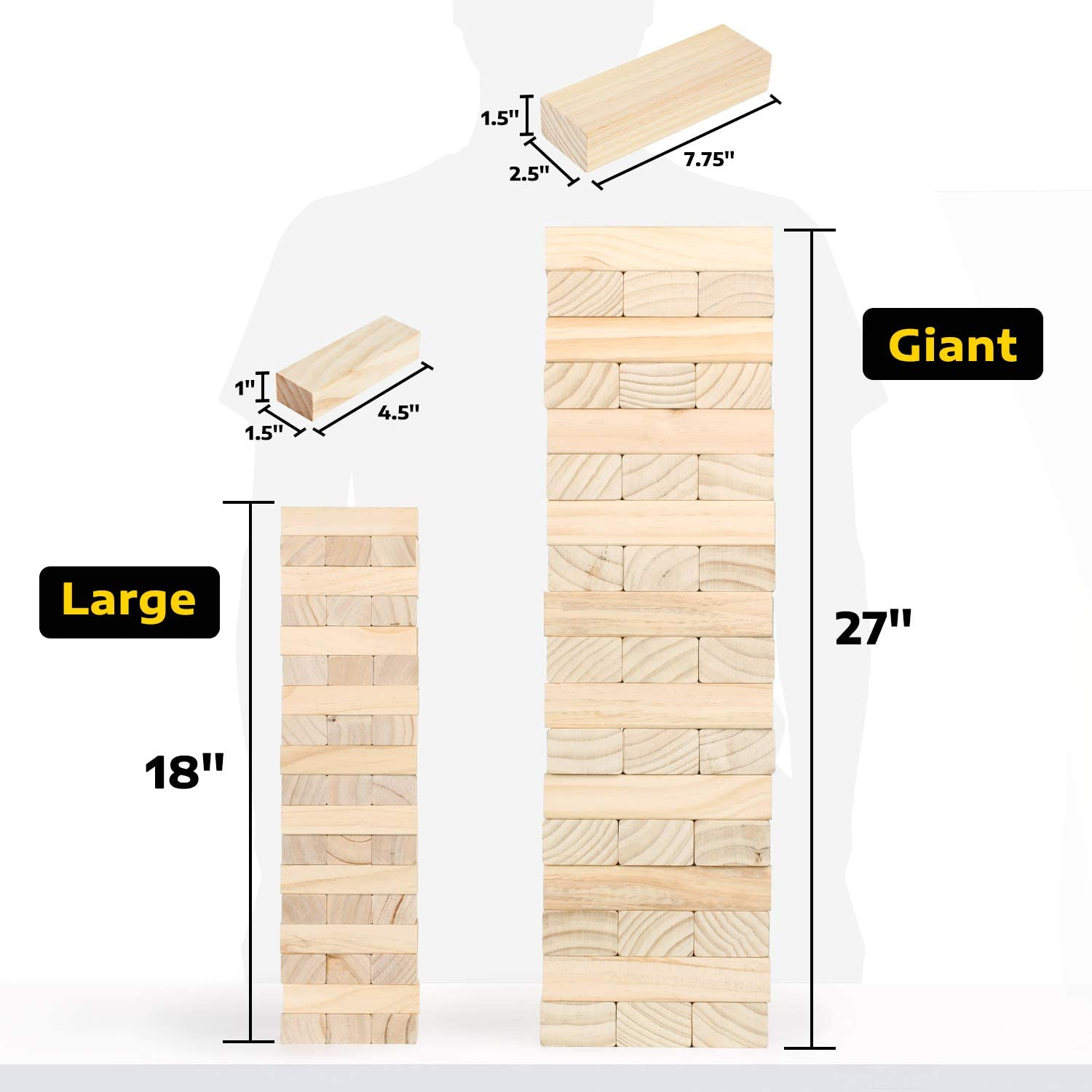 Wooden Stacking Yard Game for Kids and Adults 54 Oversized Blocks A11N Giant Tumble Tower Stacks to 5+ Feet