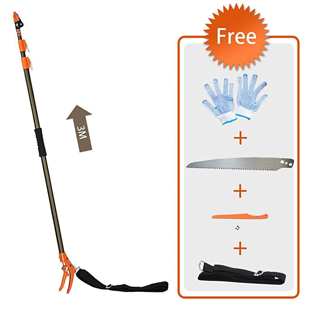 Finether Tree Pruner:Telescoping Long Reach Tree Lopper Aluminium Cut&Hold Pole Pruner&Saw/Branch Trimmer with Bypass Pruner/Saw Blade/Guide Rod/Gloves/Shoulder Strap/3 Sections/Extends from1.8-4M