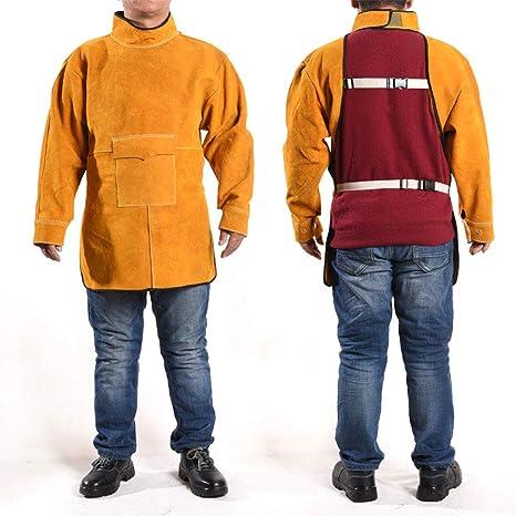 Moolo Soldar Delantal Ropa de Soldadura, Chaqueta soldadora, Resistente al Fuego, Delantal de Trabajo, Resistencia a Altas temperaturas, Anti escaldado, ...
