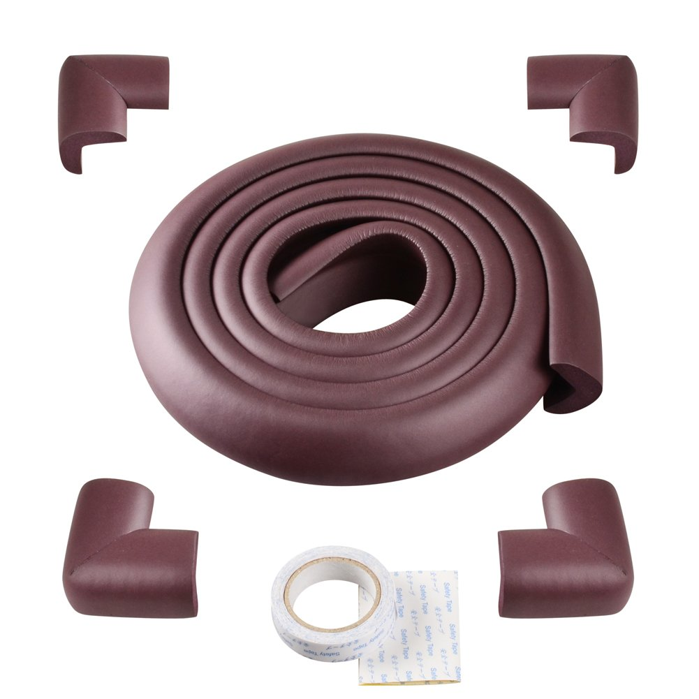 ISOTO Edge and Corner Guards Set Baby Toddler Child 5M/16.5ft L-Type Soft Cushion Strip + 4 Corner Safety Glass Table Home Protector Protection Protictive (Brown, L Shape)