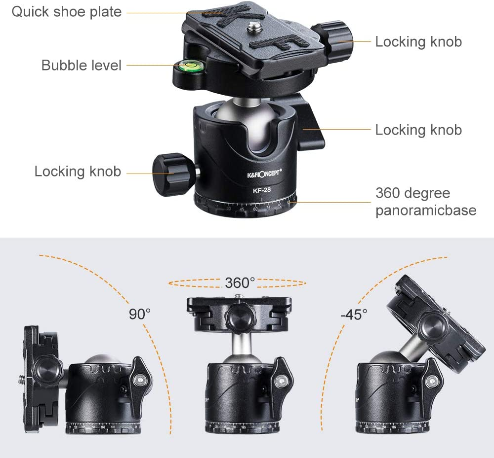 K/&F Concept Professional Metal Tripod Ball Head 360 Degree Rotating Panoramic with 1//4 inch Quick Release Plate Bubble Level for Tripod Monopod Slider Camera Camcorder up to 22 pounds//10 kilograms