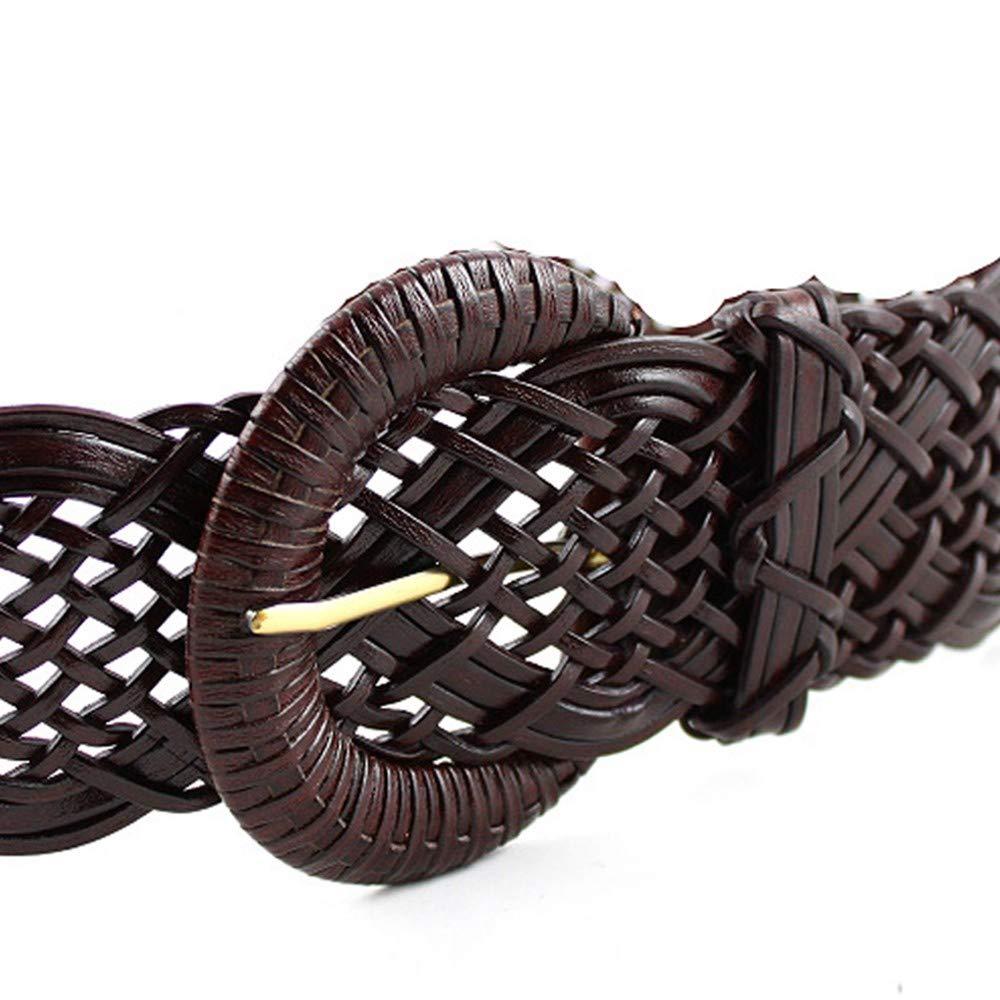 HYLIUP Mens Belt Classic Design Womens Woven Wide Belt Coat Girdle Black and White Decorative Belt Dress pin Buckle Jeans Belt