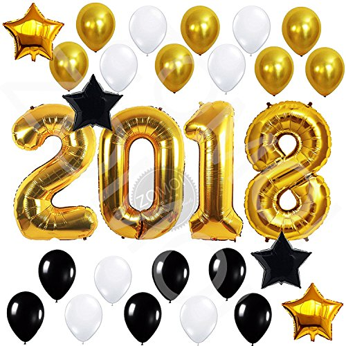 Christmas 18 Inch Mylar Balloon - ZOMOI 2018 Balloons Gold Decorations Set, Black & White Latex Balloon, Large Size Number Banner, Perfect for Event, Bridal Wedding Birthday Christmas and Graduation Party Supplies