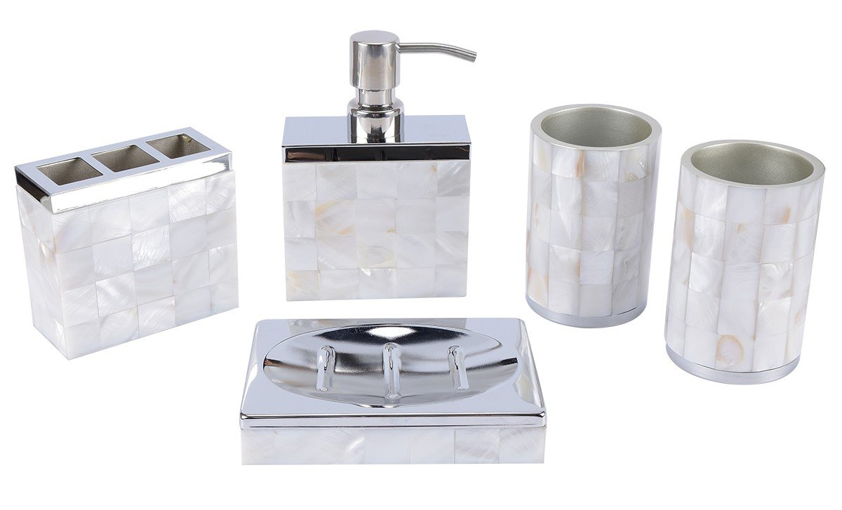 AIMONE 5 Pcs Bathroom Accessories Set Natural Mother of Pearl White ...