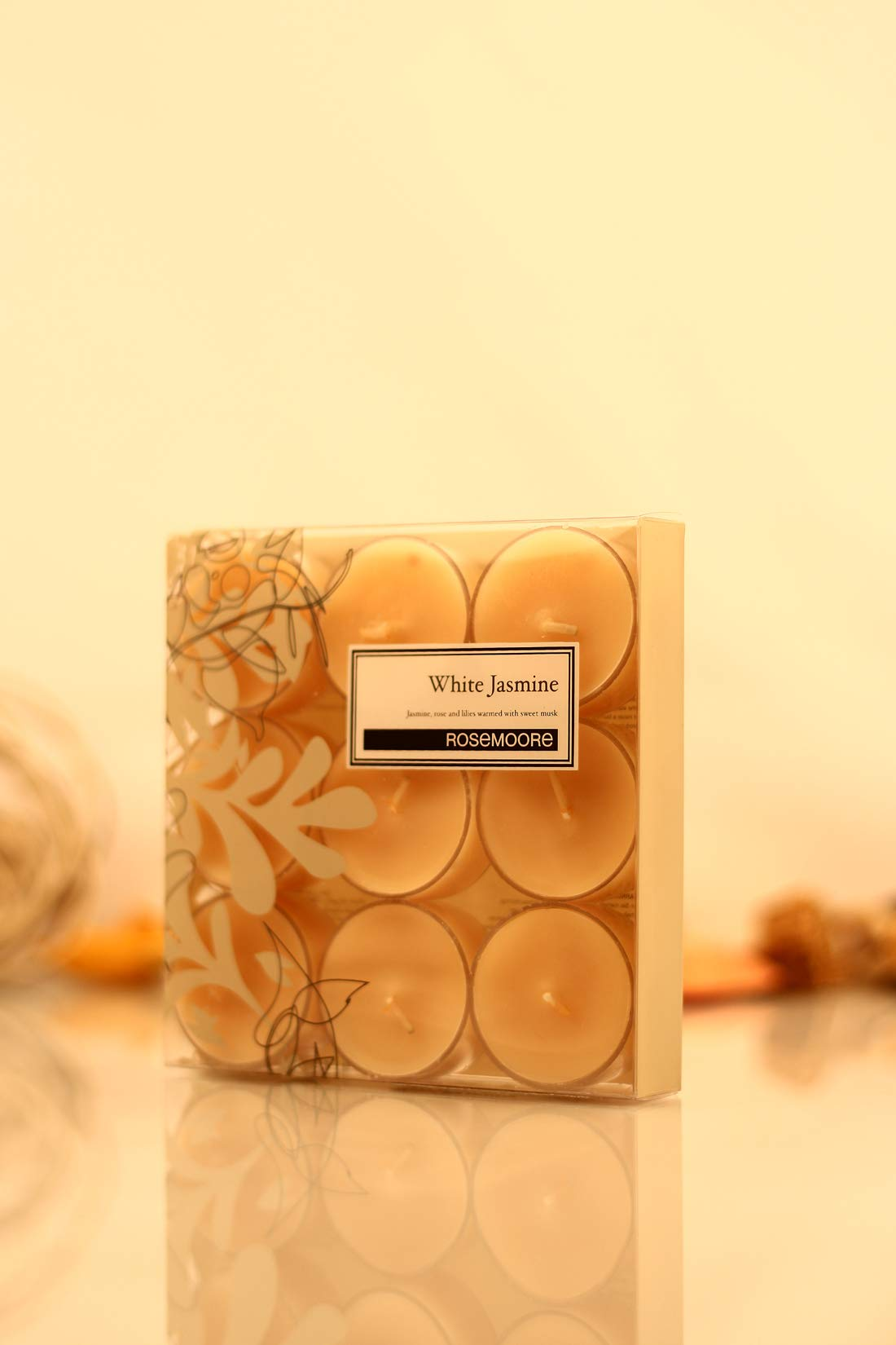 Rosemoore White Jasmine Scented Tea Lights For Living Room, Washroom, Bedroom, Office by Rose and Moore (Image #3)