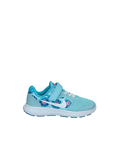 NIKE Girls Revolution 3 Print (PSV) Pre-School Shoe Still Blue/White