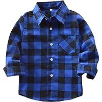 Yying Camisa Niño Manga Larga - Camisa Cuadros Blusa Niños Tops Niñas Camiseta Primavera Otoño Tshirt Tartan Shirt…