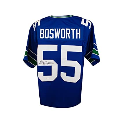 f2daa123238 Brian Bosworth Autographed Seattle Seahawks Custom Blue Football Jersey JSA  COA