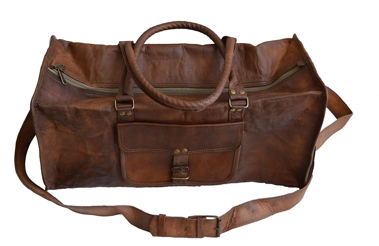 Jaald 20 Leather Duffle Bag Travel Carry-on Luggage overnight Gym weekender bag