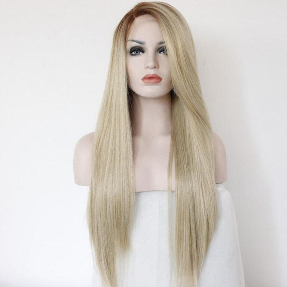 XUAN Lady Wigs Long Lace Straight Hair Brown Linen Gradient Hand-Made Wig In The Long Straight Hair Straight Can Roll