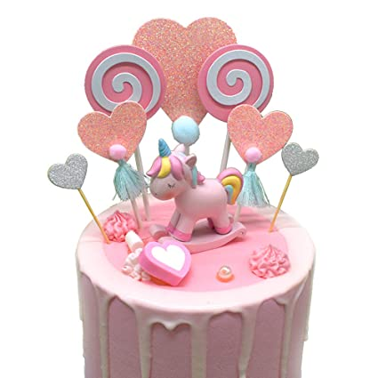 MUSTYUL Cake Topper Unicorn Birthday Top Handmade Wedding Rustic Bridal Baby Shower Pink Rainbow For